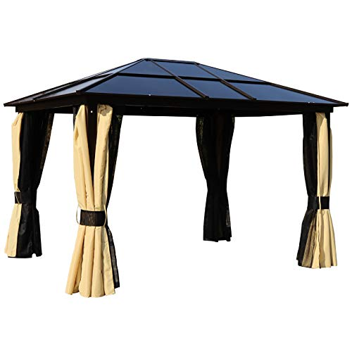 Outsunny 3.6 x 3(m) Garden Outdoor Aluminium Gazebo Hardtop witth LED Solar Light Canopy Marquee Party Tent Shelter with Mesh Curtains & Side Walls