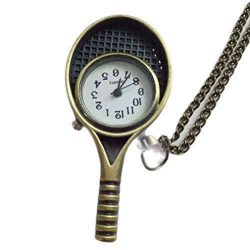 Retro Mode Quarz Taschenuhr Bronze Cartoon Tennisschläger Badmintonschläger kleine Taschenuhr für Männer und Frauen