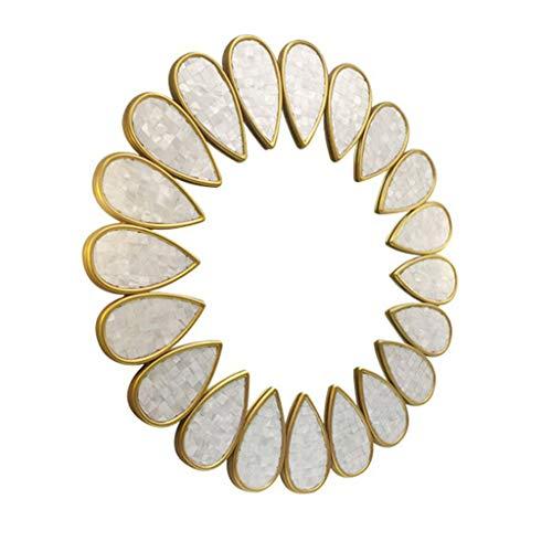 Gcgg Wandspiegel Dekor für Wohnzimmer, Champagner Goldrahmen Natürliche Muschel Dekoration Eingang Wandspiegel Leichter Sonnenbrille Schminkspiegel