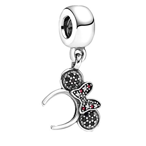 Annmors Disney Minnie Mouse Pavé Headband Dangle Charm fits Pandora Charms Bracelets for Woman-925 Sterling Silver Pendant Bead,Girl Jewelry Gifts for Women Bracelet&Necklace