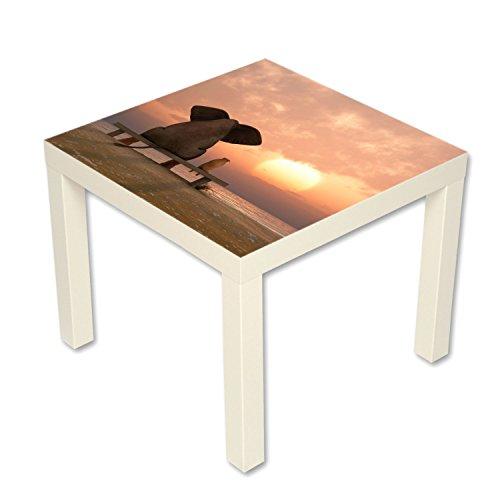 B-wie-Bilder.de bijzettafel salontafel met motief dieren olifant & hond vriendschap wit