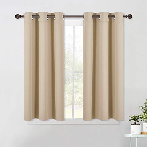 NICETOWN Room Darkening Curtain Panels for Living Room, Thermal Insulated Grommet Room Darkening Draperies / Drapes for Window (Biscotti Beige, 2 Panels, W42 x L45 -Inch)
