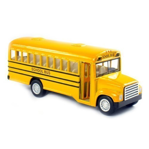 "6"" Die Cast Long-Nose School Bus with Pull-Back Action and Open-able Doors"