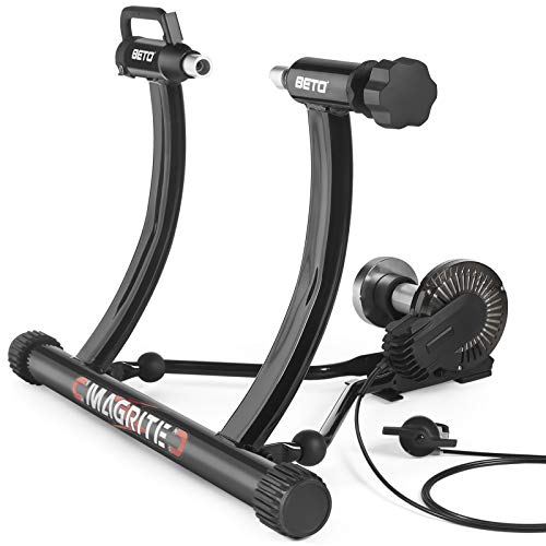 """Bike Trainer Stand fits 24"""" to 29"""" Bikes  Portable Magnetic Bicycle Rollers 5 Resistance Levels Noise Reduction  Stationary Exercise for Road amp Mountain Bikes Bike Trainer"""