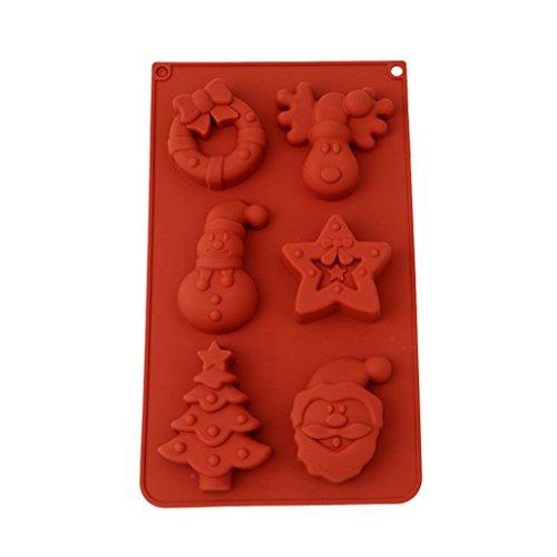 HENGSONG Weihnachten Silikonform Kuchenform Fondant Schokolade Form DIY Backen Formen Dekorieren, Weihnachtsmann, Rentier, Schneemann, Weihnachtsbaum, Sterne