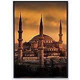 DOAQTE Mezquita del Sultán Ahmed Estambul Paisaje Turquía Arte de la Pared Pintura Cartel Imagen de la Pared Decoración de la habitación Obra de Arte -20X28 Pulgadas Sin Marco