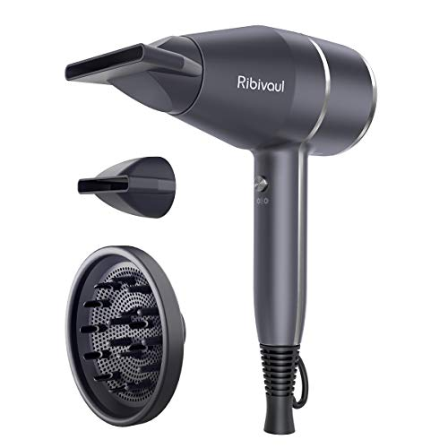 Hair Dryer 1875W Ribivaul Hairdryer with Diffuser and Concentrator, Powerful Blow Dryer Fast Dry, Ionic Fashion for Women Men, Professional Salon...