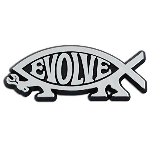 EvolveFish Plastic Auto Emblem - [Silver][5'' x 2'']