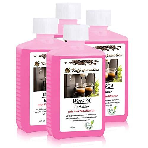 Flüssig Entkalker 250 ml für Kaffeevollautomat, Kaffeemaschine, Wasserkocher - Kalklöser geeignet für Bosch, Siemens, Miele, Tassimo, Jura, Krups, Philips, Saeco, WMF, Delonghi usw. (4er Pack)