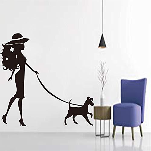 Dwzfme Pegatinas de Pared Vinilo Tallado para Mujer, Mascotas y Perros, calcomanía extraíble, Papel Tapiz artístico, póster, Pintura de decoración del hogar a la Moda 97x126cm
