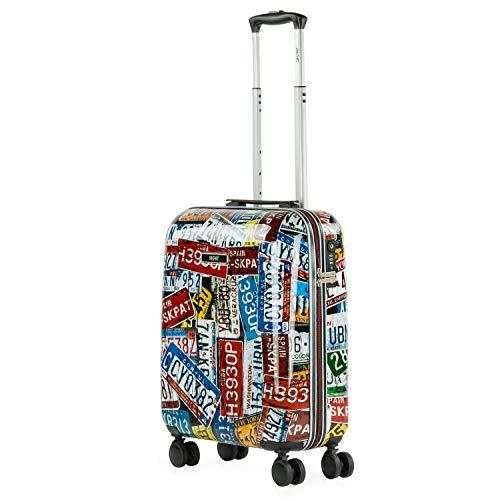 SKPAT - Maleta Cabina Juvenil de Viaje Estampada. Tolley 4 Ruedas Dobles. Candado TSA. Cómoda, Ligera y Resistente. Apta para Vuelos Low Cost 132450, Color Negro