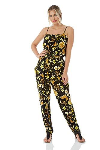 Roman Originals Vrouwen Bloemen Print Jersey Stretch Mouwloos V-hals Jumpsuit - Dames Mode Jumpsuits voor Uitgaan Overdag Avond Vakantie Cruise Cocktails Party