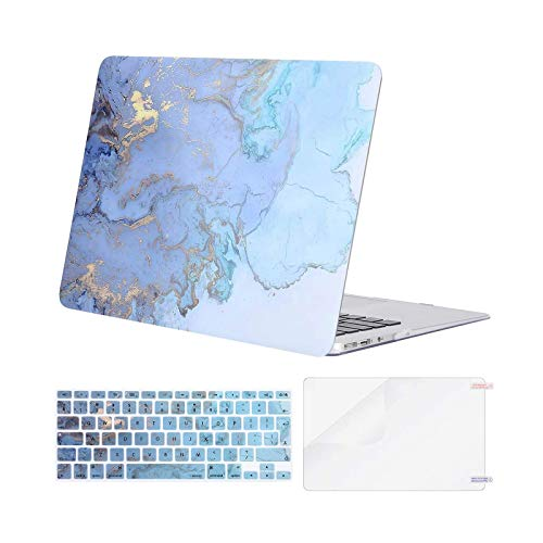 MOSISO Case Compatible with MacBook Air 13 Inch A1369/A1466, Older Version Release 2010-2017, Plastic Shell Cover & Matching Color Keyboard Cover EU Layout & Screen Protector, Water Blue Marble