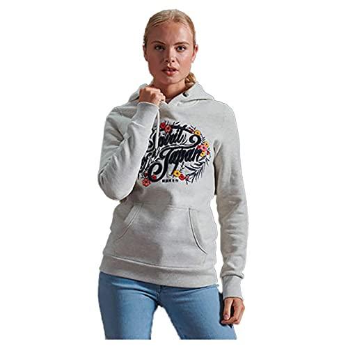 Superdry Womens Folk FLORAL Hood Hooded Sweatshirt, Queen Marl, S