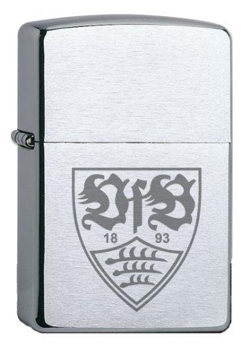 Zippo VfB Stuttgart-Offizielles Lizenz Chrome Brushed Feuerzeug, schwarz, 5.8 x 3.8 x 1.8 cm