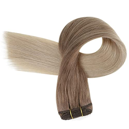 Sew in Human Hair Extensions Hair Weft Remy Hair Sew in Extensions Straight Hair Weft Bundles Straight Balayage Weft Hair 14Inch Hair Bundles 70g