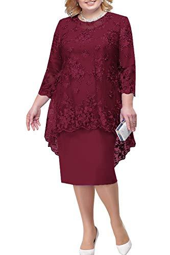 BABYONLINE D.R.E.S.S. Lace Grosse groessen Brautmutterkleider mit Jacke Für Hochzeitskleider Festliche Kleider Etuikleid Kurz, Burgundy, Gr.48
