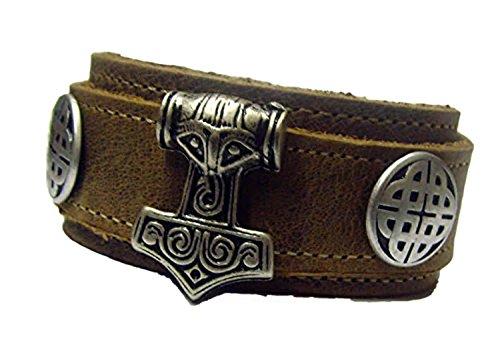 Wickel Lederarmband Farbe Hellbraun Thor Hammer Mjölnier