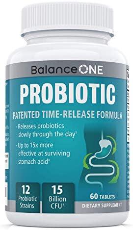 Balance ONE Probiotic, Daily Probiotics for Women & Men, Shelf Stable, 15 Billion CFUs with Prebiotics, 12 Probiotic Strains, Lactobacillus Plantarum Acidophilus & Paracasei, 60 Time-Release Tablets