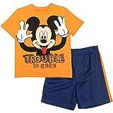 Disney Mickey Mouse Baby Boys T-Shirt Athletic Mesh Shorts Set Orange/Navy 18 Months