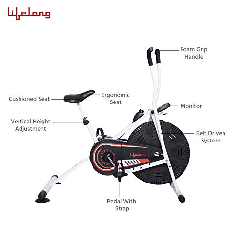 Lifelong LLF99 Fit Lite Airbike Exercise Machine with Stationary Handle for Cardio Training, Weight Loss and Workout at Home