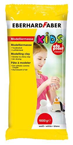 Eberhard Faber 570102 - Modelliermasse EFA Plast Kids, 1 kg, weiß