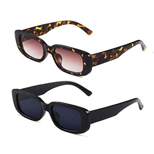 occhiali da sole uomo colorati Long Keeper Occhiali da Sole Rettangolari Vintage Donna Aesthetic Retrò Occhiali Quadrati UV400 Protezione per Donna Uomo Ragazza (Black+Leopard)