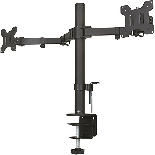 "WALI Dual LCD Monitor Fully Adjustable Desk Mount Stand Fits Two Screens up to 27"", 22 lbs. Weight Capacity per Arm (M002), Black"
