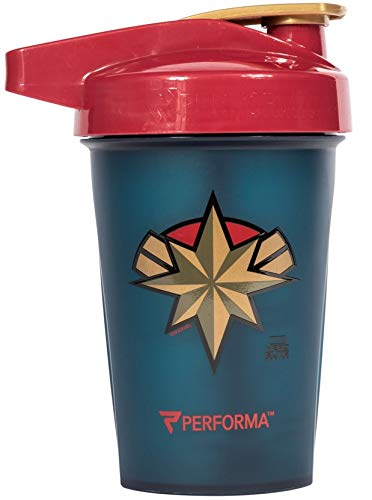 PerfectShaker Performa - Mini Marvel Series, Leak Free Protein Shaker Bottle with Actionrod Mixing Technology for All Your Protein Needs! Shatter Resistant & Dishwasher Safe (20oz) (Captain Marvel)
