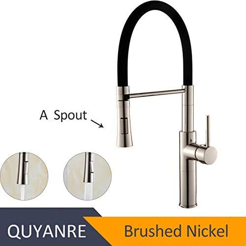 5151BuyWorld waterkraan, mat, voor keuken, chroom, zwart, waterkraan, druksproeier, 360 draaibaar, eengreepsmengkraan, keukenkraan Brushed Nickel A