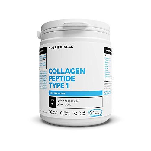 Collagène 100% Pur - Collagène Peptide Peptan Type 1 | Santé Tendons & peau & articulations • Bien-être & Sport | Nutrimuscle | 120 Gélules