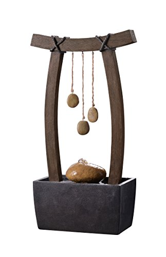 Kenroy Home 51047WDG Reflection Indoor Table Fountain, 21.5 Inch Height, Woodgrain, Rope and Stone