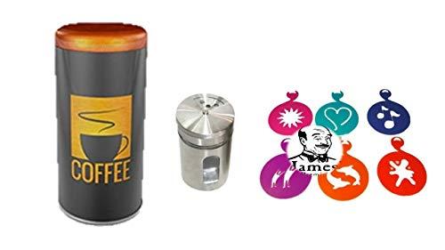 Premium Paddose für 18 Kaffeepads, Dose, Pad, dazu Schokostreuer aus Edelstahl für Kakao, Cappuccino Schablonen 6 Stück