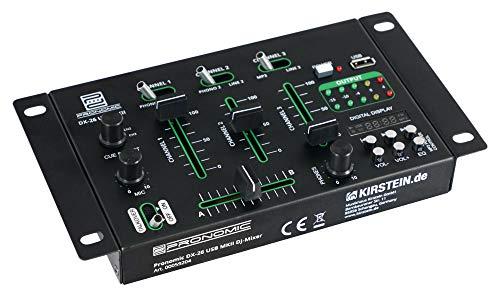 Pronomic DX-26 USB MKII DJ-Mixer - 3-Kanal DJ-Mixer - Cue-Funktion für alle Kanäle - MP3-Player - 2x Line/Phono-Kanal - 2x Mikrofonanschluss