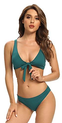 SHEKINI Mujer Bikini Dos Piezas Sexy Traje de Baño Collar Bajo Ajustable Bikini Top Deportivo Bañador y Cintura Baja Bottom Triángulo Color Sólido Dos Piezas Bikini(M,Verde Oscuro A)
