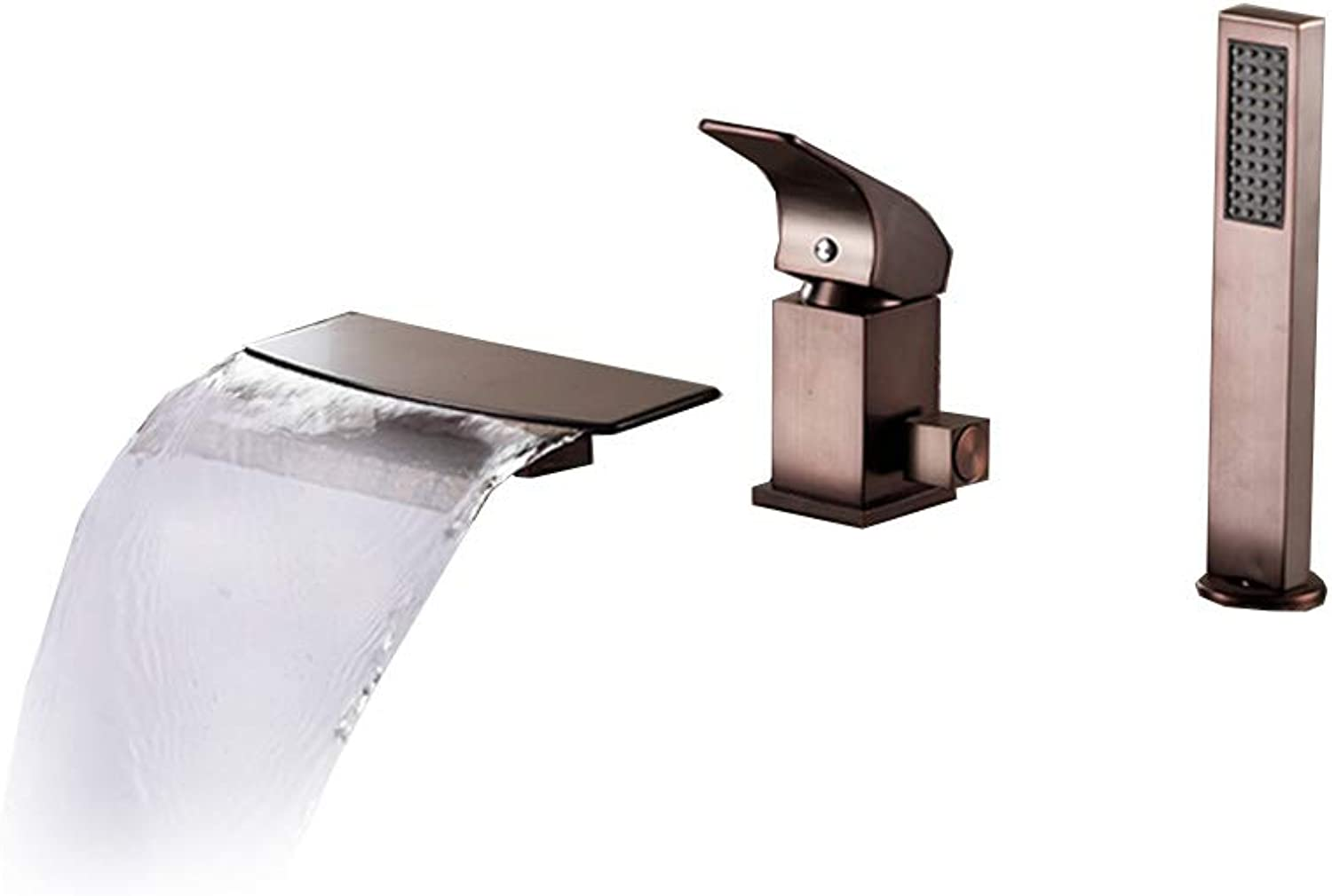 PLUMBER X True Waterfall Faucet With Handheld Shower Head 3-Piece Single Handle Health Brass Bath Bathroom Sink Mixer Cold Hot Tap, Oil-Rubbed Bronze