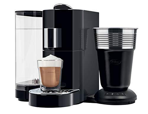 KFee Twins II amp Latte Verismo Pod Compatible Single Serve Coffee/Espresso Machine with Lattaero Milk Frother