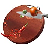 NPZBMGB Redondo Tabla de Cortar Cocina Madera con Mango, Reversible Tabla de Madera para Cocina, Corte de Madera Entera Palosanto Natural Fácil de Limpiar, Espesor 3.2cm
