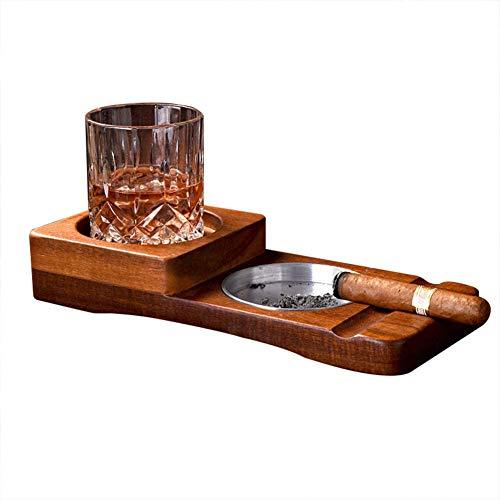 QLIGHA Holz Zigarren Aschenbecher Whisky Glas Untersetzer Tablett Set Edelstahl Asche Reservoir Whisky Zubehör Set Dekor für Home Office Bar