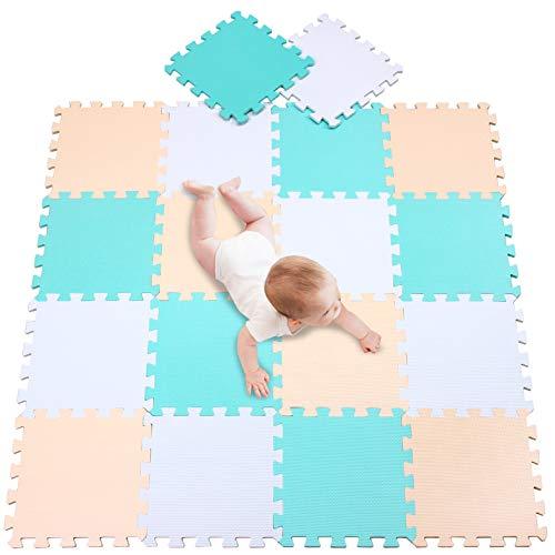 meiqicool Alfombras Puzzle para Bebé Alfombrilla Niño Suelo Goma EVA,Alfombra Puzle 1.62㎡ Niños Goma Espuma Estera Juego Puzzle Blanco Turquesa y Beige 010810