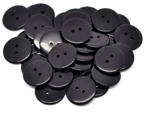 50 Harzknöpfe in schwarz 18 mm 2-Loch Knopf zum Annähen und Basteln