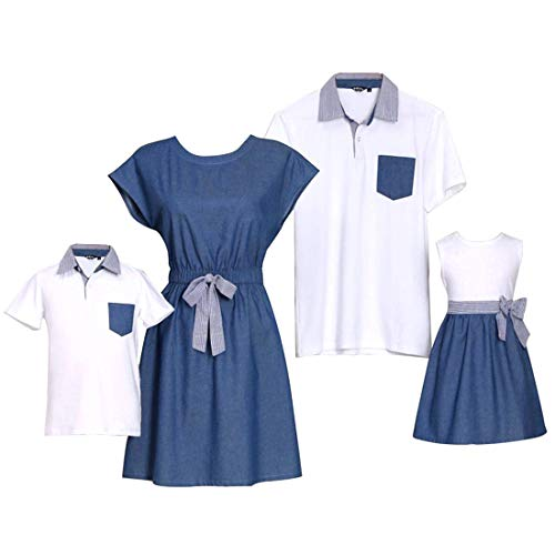 PopReal Short Sleeve Cotton T-Shirt and Bowknot Dress Family Matching Outfits,Boy-white,BOY-6-7Y