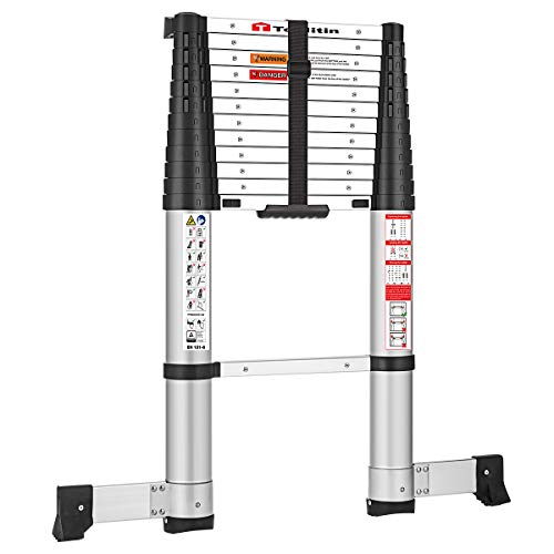 TOOLITIN 125 FT Pro Telescoping Ladder One Button Retraction Aluminum Telescopic Extension LadderSlow Down Design Extendable Ladders Portable for Household Daily or RV Work330 Pound Capacity