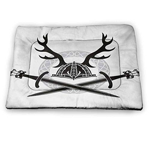 Pet Cushion Dog Bed Antler Cooling Mat for Dogs & Cats Hat with Deer Antlers Viking Culture Celtic Circle Medieval Barbarian Theme for Large Medium Small Dogs and Cats Black White Silver (46'x30')