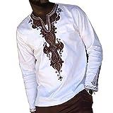 VERWIN African Fashion Dashiki Style Print Color Block Casual V-Neck Loose Men's T-Shirt Man Top M White