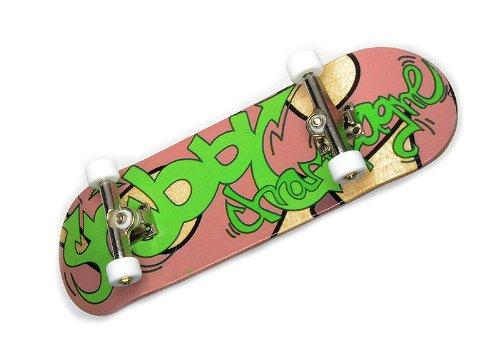 "KOMPLETT Fingerskateboard Shibby Champange #1 \""Graffiti Tag\"" Deck + Achsen SILBER + ROLY-POLY Wheels WEIß von FREEFINGERS® Handmade Wood Fingerboard"