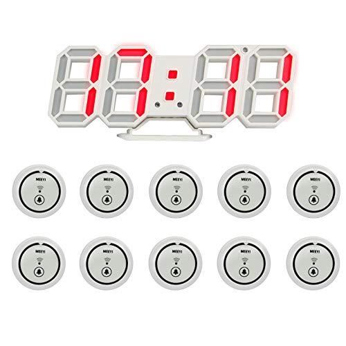 W611-48x / Y-b11 Sistema De Llamada De Mesa De Restaurante para Camareros De Visitantes 10 Botones (Blancos) Y 1 Pantalla Adecuados para Restaurantes, Cafés, Patios De Comidas, Hoteles, Bares