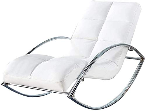 Rocking Chair with Backrest and Armrest Leather Cushion Relaxing Recliner Chair for Living Room, Patio and Terrace (Color : White)