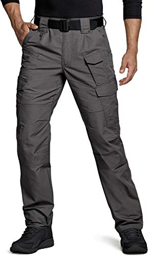 CQR Men's Tactical Pants, Water Repellent Ripstop Cargo Pants, Lightweight EDC Hiking Work Pants, Outdoor Apparel, Duratex Mag Pocket(tlp109) - Charcoal, 36W x 32L