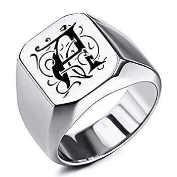 MeMeDIY Custom Engraved Initial Monogram Signet Ring for Men Women Boys Mens Rings Stainless Steel Bundle with Ring Size Adjusters Silver Color Size 10